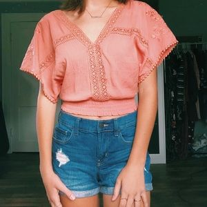 Coral crop top with cute designs